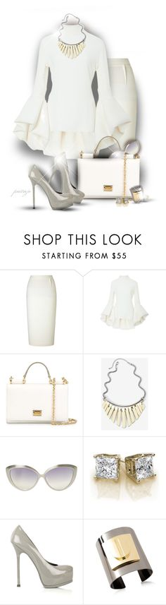"""""""Whipped Cream"""" by rockreborn ❤ liked on Polyvore featuring Roland Mouret, Brandon Maxwell, Dolce&Gabbana, White House Black Market, Linda Farrow, Yves Saint Laurent and Pluma"""