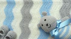 wave crochet blanket pattern   pontinhos meus: Manta bebe ondas azuis - Blue waves baby blanket