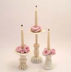 1/12TH scale - shabby chic romantic candlestick with roses by lory. €15,00, via Etsy.