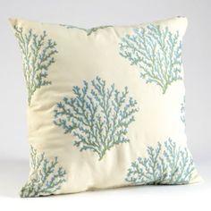 #kirklands #pinitpretty  Blue & Cream Coral Embroidery Pillow   Kirkland's
