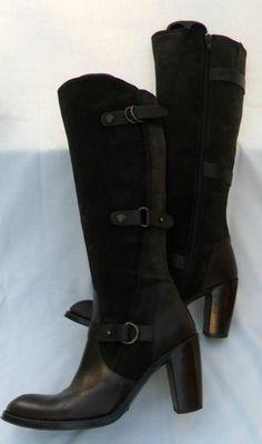 CARVELA Dark Brown Leather/Suede Riding Boots - Leg Straps - Exc. Cond. - 39/6   eBay