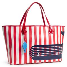 Modern Fashion Accessories   Stripes With Whale Icon Duchess Medium East/West Tote Bag   Jonathan Adler