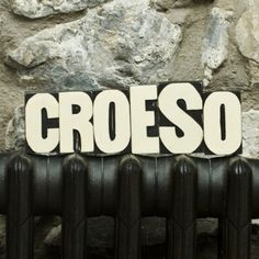 Printing Press Word Croeso, Welsh for welcome Welsh Country, Welsh Gifts, Cymru, Printing Press, Living Room Interior, Daffodils, Home Projects, Wales, Illustration Art