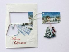 ~Ruffles And Stuff~: Recycling Christmas Cards. I used to do this with my Grandmother was the ultimate thrifty recycler! Religious Christmas Cards, Christmas Card Crafts, Christmas Cards To Make, Christmas Ornaments, Christmas Decor, Christmas Ideas, Christmas Mix, Christmas Hanukkah, Christmas Stuff