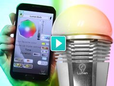 Lumen - lightbulb controlled by an iPhone via Bluetooth. change the colours and brightness, set times for it to come on and change brightness levels. Equivalent light power to a 60W, but low power LED bulb. Works in existing light socket.