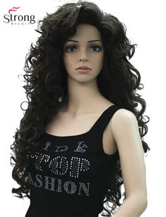 Long Layers Curlsno Part Full Synthetic Wig Dark Brown Wigs For Women Blonde