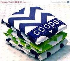Zulily Sale Personalized Burp Cloth Set - Baby Boy Navy Blue and Lime Green Chevron and Polka Dots on Etsy, $40.80