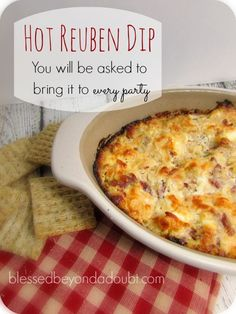 M y new favorite hot M y new favorite hot dip! M y new favorite hot M y new favorite hot dip!Delicious Hot M y new favorite hot M y new favorite hot dip!Delicious Hot Reuben Dip Recipe that people will be begging you to bring to every party! Appetizer Dips, Yummy Appetizers, Appetizers For Party, Appetizer Recipes, Party Dips, Irish Appetizers, Party Snacks, Reuben Dip, Dip Recipes