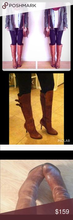 🎀 Cole Haan Leather Boot🎀 🎈 Beautiful Leather Cognac Boot In Distress  🎈 Cole Haan Shoes Over the Knee Boots