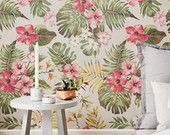 Plumeria Wallpaper - Hibiscus Wallpaper - Hawaiian Wallpaper - Plumeria Wall Sticker - Plumeria Wall Decal - Hibiscus Adhesive Wallpaper