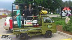 Zombie enclosure truck.
