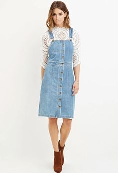 Contemporary Buttoned Overall Dress | LOVE21 | #f21contemporary