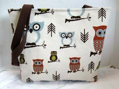 Large Purse Tote Owls Brown Olive 4 Pockets MADE by CreativeJenV, $27.50