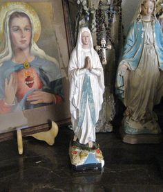 Vintage French Our Lady Lourdes Chalkware 11 by BlackDogMarket, $129.99