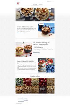 Gabarit simple et visuel pour les pages de gammes  Présentation visuelle et gourmande des ingrédients  #webdesign #food #cereal