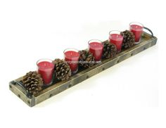 Wooden Candle Tray Long Wood Table Centerpiece Mantle Tray Buffet Table Tray