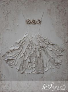 Rachel Schwind-Segreto Gallery - Vintage Dress - Plaster and Mixed Media on Panel - 47 in. x 37 in.