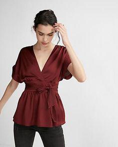 5e188777c29 satin wrap blouse  express V Neck Blouse