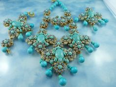 """Spectacular ~ Signed Stanley Hagler Turquoise Glass Statement Grand Parure """"One Of A Kind""""  http://www.rubylane.com"""