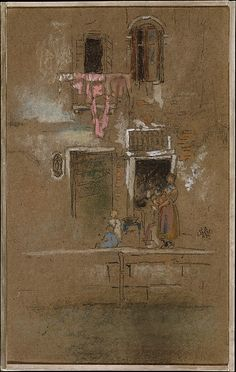 Note in Pink and Brown by James McNeill Whistler (American 1834-1903)  ca. 1880  Charcoal and pastel on dark brown wove paper