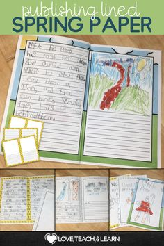 Publishing Lined Paper : Spring Edition Writing Lines, Writing Centers, Writing Workshop, Writing Prompts, Literacy Centers, Spring Activities, Kindergarten Activities, Fun Activities, Teaching Writing