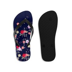 (1) Navy Blue Floral Rose Print Unisex Flip-Flops Beach Pool Cute Sandals- Made in USA   Heidi Kimura Art LLC Floral Flip Flops, Beach Flip Flops, Designer Flip Flops, Floral Print Shoes, Flipflops, Flip Flop Shoes, Womens Flip Flops, Beach Shoes, Cute Sandals