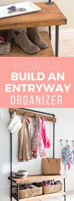 DIY entryway organizer - this tutorial is one of the best I've seen for small space entryway organization.