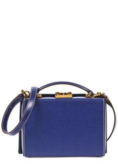 Grace navy saffiano leather box bag