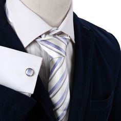 A8030 Silk Mens White Blue Striped Fitted Gift Idea Tie Cufflinks Set  Y&G