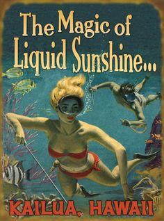 The Magic of Liquid Sunshine! (414) Hawaiiana, Beach, Coastal -Hawaiiana Vintage Hawaii - Hawaiiana