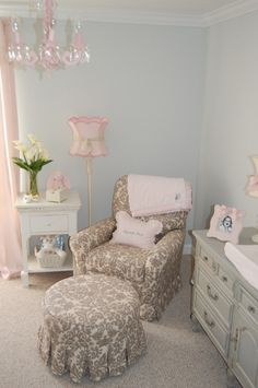 Sophisticated nursery with pink, gray, and taupe.