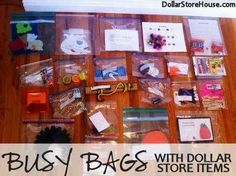 """Summer fun with Dollar store stuf . Pre-pack """"busy bags"""" with dollar-store items to give your kids when they say they're bored. Summer Fun For Kids, Summer Activities For Kids, Craft Activities, Toddler Activities, Diy For Kids, Crafts For Kids, Toddler Games, Indoor Activities, Family Activities"""