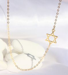 Dainty gold necklace - Gold Jewish Star of David, David Star Necklace, jewish jewelry, Sideways Jewish Star of David on 14kt Filled chain.. $29.00, via Etsy.