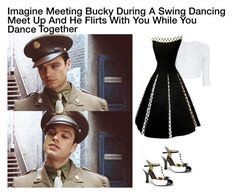 """""""Imagine Meeting Bucky During A Swing Dancing Meet Up And He Flirts With You While You Dance Together"""" by alyssaclair-winchester ❤ liked on Polyvore featuring Alaïa, imagine, Avengers, marvel, buckybarnes and TheWinterSoldier"""