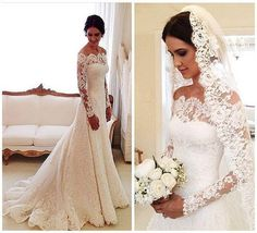 2016 Vestidos De Novia Lace Wedding Dresses Off Shoulder Applique A Line Pleats Long Sleeves Vintage Bridal Gowns With Buttons Back