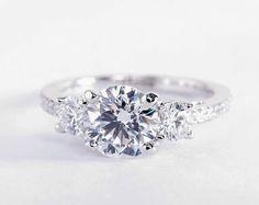 1.55 Carat Diamond in the Three Stone Pavé Diamond Engagement Ring   Blue Nile