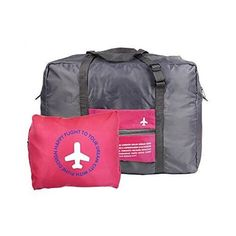 Kansoon Waterproof Foldable Storage Luggage Bag for Travel Camping, Sports Gear or Gym, Super Lightweight Large Capacity,Can Attach on the Handle of Suitcase (rose red). Material:Polyester,Zipper closure,reinforced handles and adjustable strap. High workmanship ensure high quality, light weight but durability. Size: 18'' x 8'' x 13.6''(LxWxH) folded size: 7.68''x 5.7''You can fold it up into a packet as the picture show. A RELIABLE TRAVEL ESSENTIAL; Unfold at the airport to avoid excess...