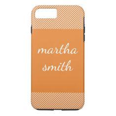 stripes / orange iPhone 8 plus/7 plus case - elegant gifts classic stylish gift idea diy style