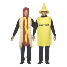 Great Couples Costume look! Everyone who sees you wearing these costumes will smile! Hot Dog and Mustard tunics are one-sized costumes for a comfortable fit. Foam-backed knit fabric wipes clean with a damp cloth. Add your own shirt, pants, or leggings. Tunics fit up to 46-inch chest size. (2 pcs. per set) Special Shipping Information: This item ships separately from other items in your order. This item cannot ship to a P.O. Box. This item may be subject to additional processing days. ITEM IS N