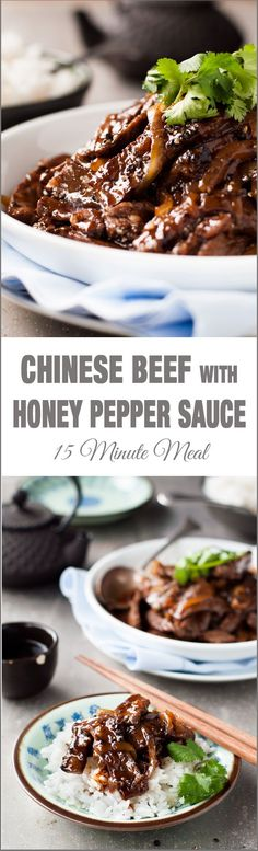 Chinese Beef with Honey & Black Pepper Sauce - A restaurant favourite at home in 15 minutes! Tender strips of beef stir fried with a lip smacking black pepper and honey sauce..