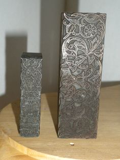 2 vintage letter press blocks  abstract floral design  by brixiana, $24.00