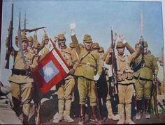 celebration - general Sakai Koji (center) celebrating victory with troops of the IJA 1st Independent Mixed Brigade after the captured of peking (1937)