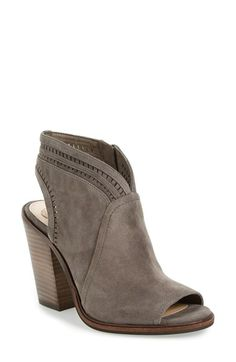 Free shipping and returns on Vince Camuto 'Koral' Perforated Open Toe Bootie (Women) (Nordstrom Exclusive) at Nordstrom.com. Delicate perforations encircle the topline and slingback strap of an open-toe suede bootie lifted by a stacked block heel.