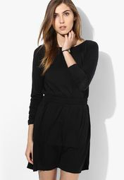 Rattrap Black Colored Solid Peplum Dress Online Shopping Store