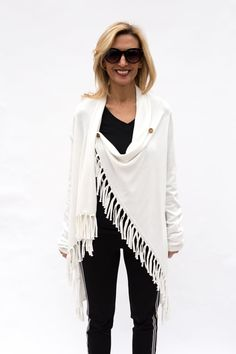 Ivory Asymmetrical Cardigan With Fringe is a stylish and trendy pieces that can be worn to work, date night or a casual weekend outing Striped Bodysuit, Fringe Jacket, Work Wear, Kimono Top, Ivory, Stylish, Casual, Jackets, Tops