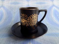 Vintage Portmeirion Coffee Cup And Saucer In Gold Lion Design In Black, By Susan Williams-Ellis - Early 1960s - GL10 on Etsy, ¥3,571.43