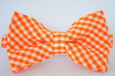Orange gingham bow tie for infant, toddler, boy -- for weddings, family portraits, photographs, photography props, infant portraits, newborn portraits, ring bearers, church outfits #stellaEM