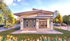 Here is another bungalow for those who are looking for an affordable house design to build. The popularity of bungalows never go outmoded because homeowners always prefer it and Small Contemporary House Plans, Contemporary Garden Rooms, Two Storey House Plans, One Storey House, House Roof Design, Simple House Design, Modern Bungalow House, Bungalow House Plans, Cute Small Houses