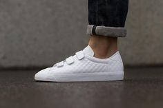 "Nike Tennis Classic AC Velcro ""White"". A luxe quilted upper with velcro straps, all in white."