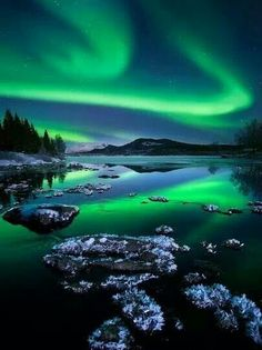 Northern lights. It's my dream to see these someday. :)  on my bucket list...